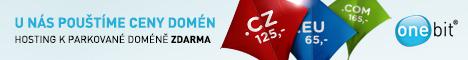ONEbit hosting - k parkované doméně webhosting na měsíc zdarma